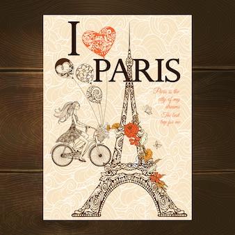 Vintage parijs-poster