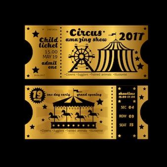 Vintage partijuitnodiging. retro circus carnaval ticket sjabloon. gouden kaartjes geïsoleerd
