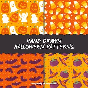 Vintage patronen set van de hand getekende halloween