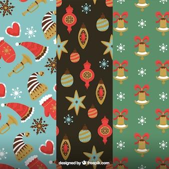 Vintage patronen van kerst elementen
