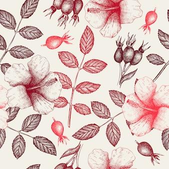 Vintage patroon met kruiden thee ingrediënten - hibiscus en hondsroos.