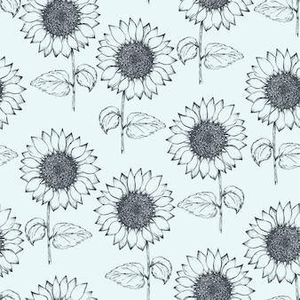 Vintage patroon met overzicht pen zonnebloemen