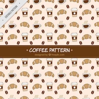 Vintage patroon van croissant en koffie