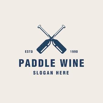 Vintage peddel wijn logo sjabloon