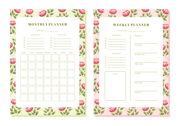 Vintage peony floral maandelijkse en wekelijkse planner sjabloon