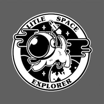 Vintage pictogrammen met eerste kleine hondastronaut in ruimteonderzoeker.