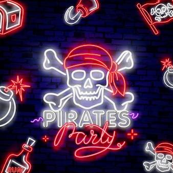 Vintage piraat embleem gloeiende neon
