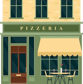 Vintage pizzeria café restaurant huis. cartoon europese stad straat met het bouwen van groene buitenkant