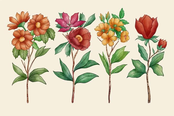 Vintage plantkunde bloemenpakket