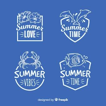 Vintage platte zomer label collectie