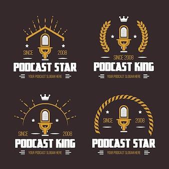 Vintage podcast logo collectie