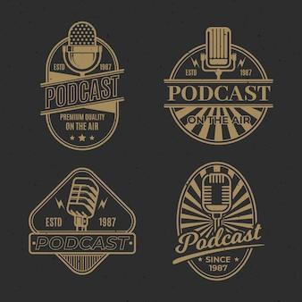 Vintage podcast logo-collectie