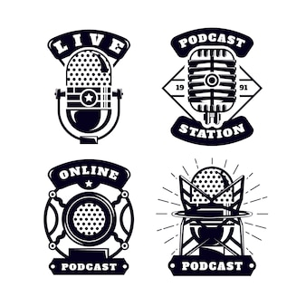Vintage podcast logo-collectie