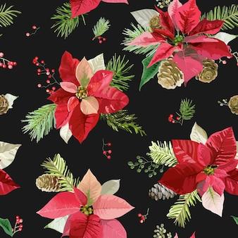 Vintage poinsettia bloemen achtergrond naadloze kerst patroon