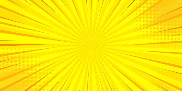 Vintage pop-art gele en oranje achtergrond superheld achtergrond voor strips