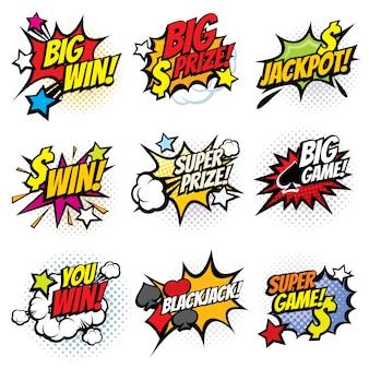 Vintage popart komische bubbels met gokken winnende woorden vector set