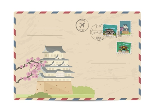 Vintage post envelop met japan postzegels