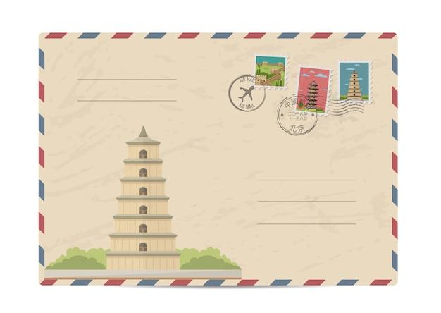 Vintage post envelop met postzegels van china