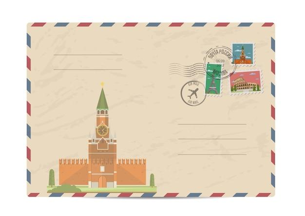 Vintage post envelop met postzegels