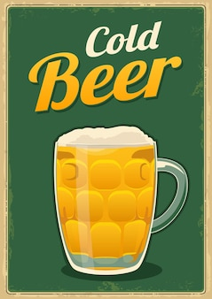 Vintage poster koud bier. voor embleem, poster