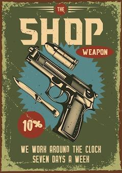 Vintage poster met illustratie van een pistool en zijn onderdelen