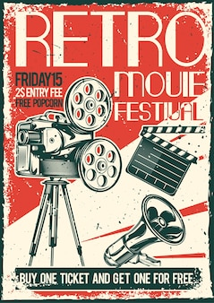 Vintage poster met illustratie van een projector en een megafoon