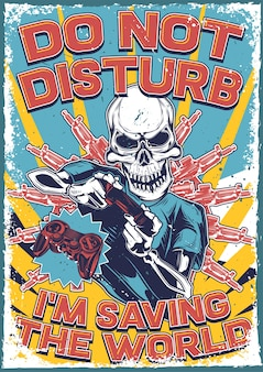 Vintage poster met illustratie van een skelet met een joystick in zijn handen