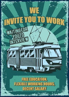 Vintage poster met illustratie van een tram