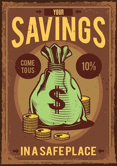 Vintage poster met illustratie van een zak met geld en munten eromheen