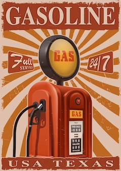 Vintage poster met oude benzinepomp. retro metalen bord voor garage.
