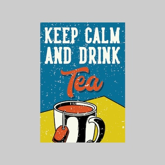 Vintage poster theetijd en de perfecte thee voor elke stemming retro illustratie