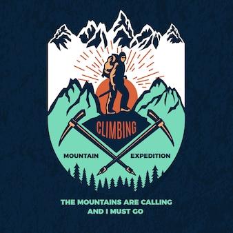 Vintage poster van bergbeklimmen.