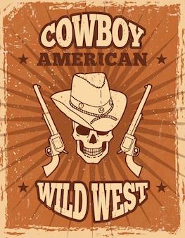 Vintage poster van het wilde westen thema