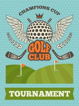 Vintage poster voor golftoernooi.