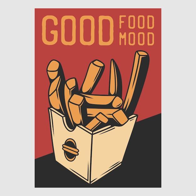 Vintage posterontwerp goed eten goede mod retro illustratie