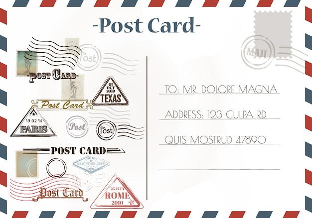 Vintage postkaartontwerpen en stempels
