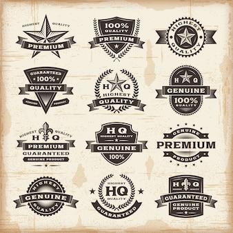 Vintage premium kwaliteitslabels ingesteld