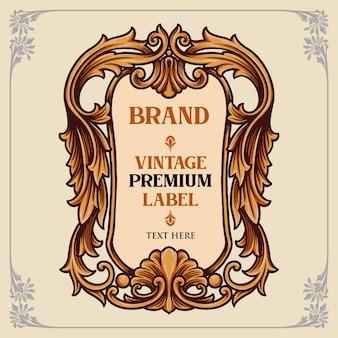 Vintage premium label ornamenten illustraties