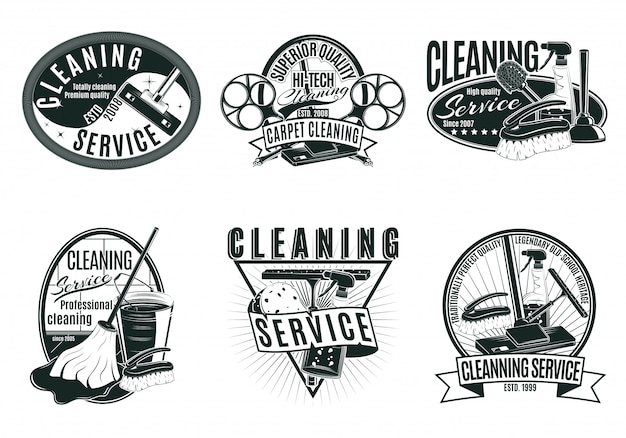 Vintage professionele schoonmaakset etiketten