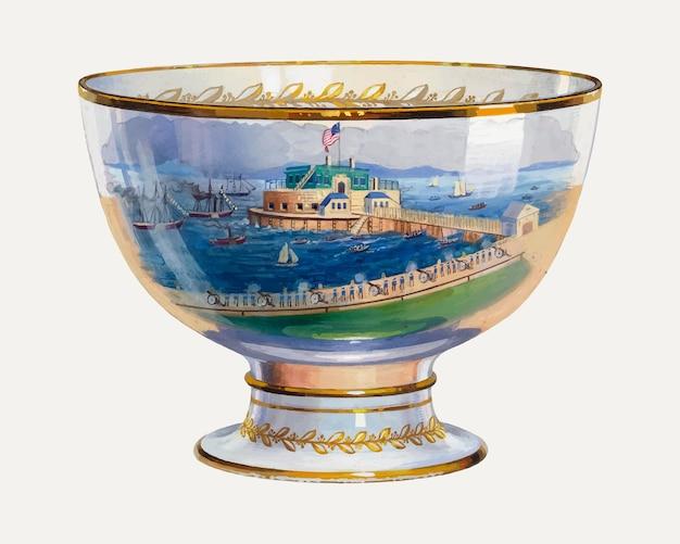 Vintage punch bowl vectorillustratie, geremixt van het kunstwerk van charles caseau