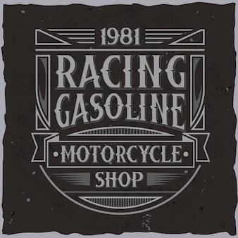 Vintage race-label met belettering samenstelling