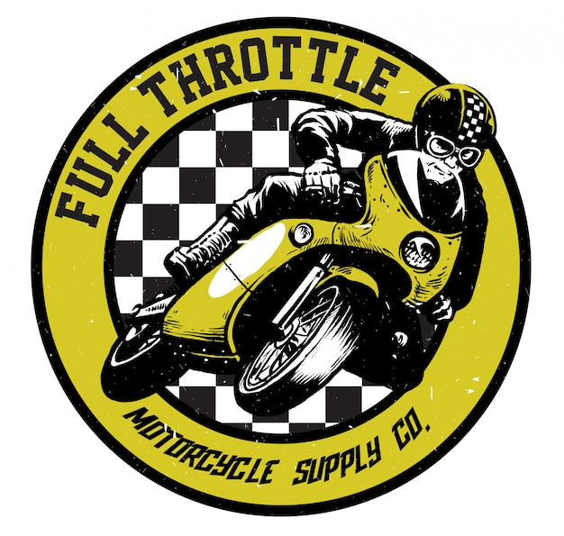 Vintage race motorfiets t-shirt design
