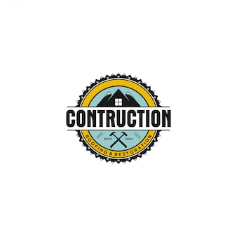 Vintage real state house contruction-logo