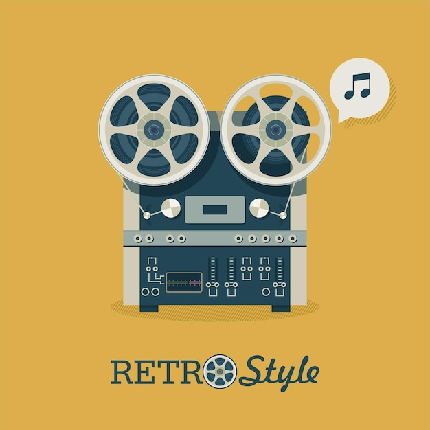 Vintage reel to reel bandrecorder. embleem, pictogram. vectorillustratie in retro stijl.