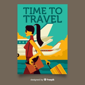 Vintage reizen poster vlakke stijl