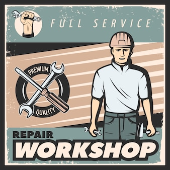 Vintage reparatie workshop poster