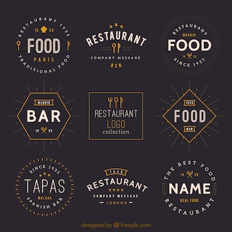 Vintage restaurant logo collectie
