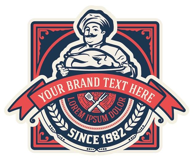 Vintage restaurant logo met chef-kok illustratie