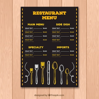 Vintage restaurant menu sjabloon met bestek