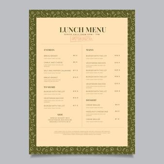 Vintage restaurant menusjabloon